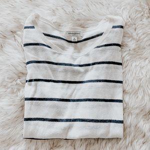 Elbow Patch Women's Striped Long Sleeve Top Shirt